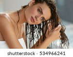 hair and body care. portrait of ... | Shutterstock . vector #534966241
