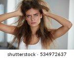 damaged hair. beautiful sad...   Shutterstock . vector #534972637