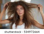 damaged hair. beautiful sad... | Shutterstock . vector #534972664
