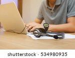 close up headset headphone call ... | Shutterstock . vector #534980935
