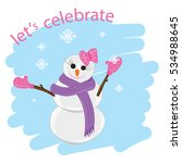 illustration of snow woman. | Shutterstock .eps vector #534988645