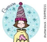cute zodiac sign capricorn   Shutterstock .eps vector #534990211