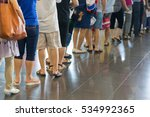 closeup queue of asian people