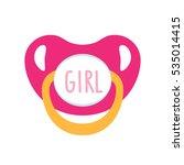 baby pink pacifier. flat vector ... | Shutterstock .eps vector #535014415
