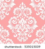Floral pattern. Wallpaper baroque, damask. Seamless vector background. Pink and white ornament.. | Shutterstock vector #535015039