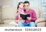 little girl and father are... | Shutterstock . vector #535018525