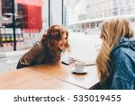 two young beautiful caucasian... | Shutterstock . vector #535019455