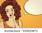 surprised pop art woman who...   Shutterstock .eps vector #535023871