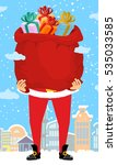 santa claus and bag of gifts in ... | Shutterstock .eps vector #535033585