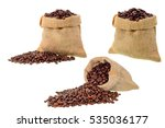 coffee beans in bag on white... | Shutterstock . vector #535036177