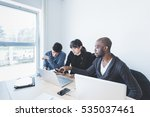 multiracial business people... | Shutterstock . vector #535037461
