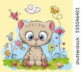 cute cartoon kitten with... | Shutterstock .eps vector #535046401
