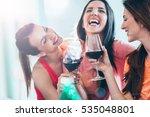 friends drinking wine in... | Shutterstock . vector #535048801