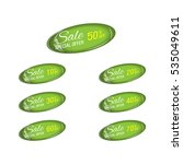 glossy green price sale tags... | Shutterstock .eps vector #535049611