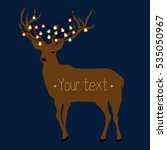 deer with garland on the horns... | Shutterstock .eps vector #535050967