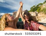 two girls holding hands and... | Shutterstock . vector #535053391