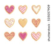 st valentines cookies vector... | Shutterstock .eps vector #535057909
