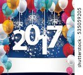 2017 with colored balloons and... | Shutterstock .eps vector #535059205