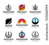 vector flying rockets  space... | Shutterstock .eps vector #535060999