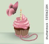 birthday cupcake with burning... | Shutterstock .eps vector #535062184
