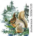 Winter Squirrel  Watercolor...