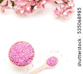 spa sea salt and flower branch... | Shutterstock . vector #535068985