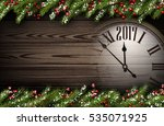 2017 year wooden background... | Shutterstock .eps vector #535071925