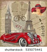 vintage poster paris london... | Shutterstock .eps vector #535075441