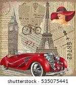 vintage poster paris london... | Shutterstock .eps vector #535075441