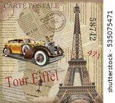 vintage poster paris torn... | Shutterstock .eps vector #535075471