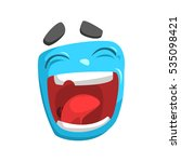 laughing blue emoji cartoon... | Shutterstock .eps vector #535098421