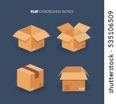 Vector Set. Flat Carton Box....