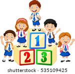 little happy children with... | Shutterstock .eps vector #535109425