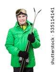 Teen With Alpine Ski On White...