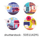 emergency call icons set | Shutterstock .eps vector #535114291