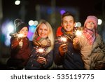 young family with bengal lights | Shutterstock . vector #535119775