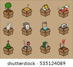 set of cardboard boxes for... | Shutterstock .eps vector #535124089