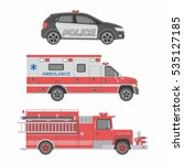 police  ambulance car and fire... | Shutterstock .eps vector #535127185