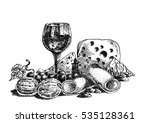 hand drawn  vector wine and... | Shutterstock .eps vector #535128361