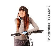 Young smiling woman bicyclist isolated on white - stock photo