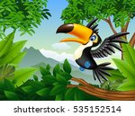 cartoon toucan in the jungle | Shutterstock . vector #535152514