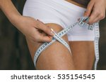 young slim woman measuring...   Shutterstock . vector #535154545