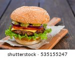 single solo burger hamburger... | Shutterstock . vector #535155247