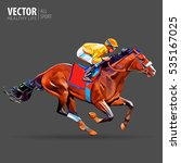 jockey on horse. champion.... | Shutterstock .eps vector #535167025