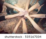 group of diverse hands together ... | Shutterstock . vector #535167034
