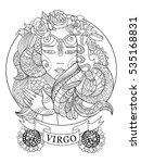 virgo zodiac sign coloring book ...   Shutterstock .eps vector #535168831