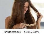hair care. closeup of beautiful ... | Shutterstock . vector #535173391