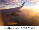 wing of the air plane on the... | Shutterstock . vector #535173565