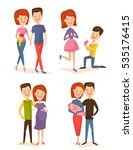 happy young family couple set... | Shutterstock .eps vector #535176415