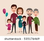 big happy family isolated... | Shutterstock .eps vector #535176469
